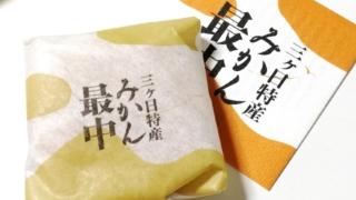 新東名高速道路・NEOPASA浜松のプレみや【みかん最中】に入っていた紙と開ける前の最中