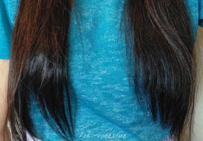 エルセーヴ エクストラオーディナリー オイル ダブルヘアパックしっとりを、後日改めて使った時の写真。あまり変わらない